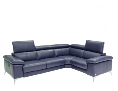 Mason Power Reclining Leather Sectional with Manual Adjustable Headrest
