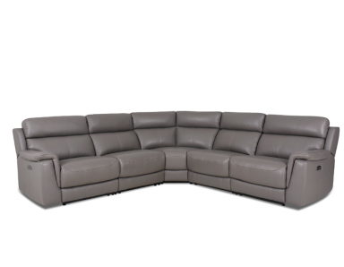 Wren Power Reclining Leather Sectional with Power Adjustable Headrest