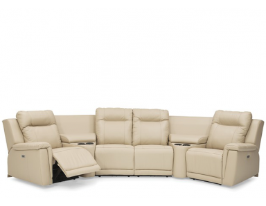 Revy Power Reclining Leather Sectional - Available With Power Tilt Headrest