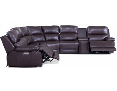 Kendra Leather Power Reclining Sectional - Adjustable Power Headrest