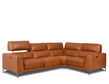Lockett Power Reclining Leather Sectional With Power Adjustable Headrest