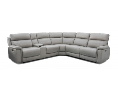Crawford Power Reclining Leather Sectional With Power Tilt Headrest