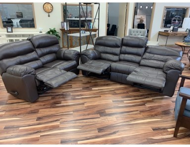 New Westbrook Leather Reclining Sofa & Reclining Loveseat Take 50% Off