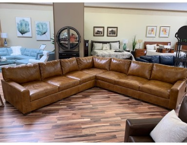 Floor Model  Napa Leather Sectional Take Over 50% Off (Some Scratches On Cushions)