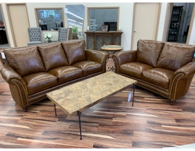 Brand Cabriolet Leather Sofa & Loveseat Take 50% Off