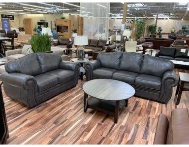 New Floor Model Bison Leather Sofa & Loveseat Take 50% Off