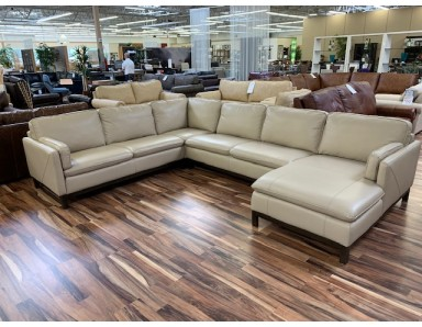 New Floor Model Noddy Leather Sectional Take 50% Off