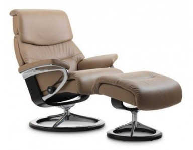 (Large) Stressless Admiral Chair & Ottoman (Signature Base)