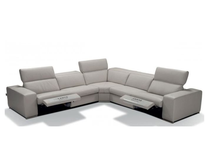 Incanto I775 Leather Power Reclining Sectional With Adjustable Power  Headrest