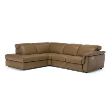 Natuzzi Editions C107 Curioso Power Reclining Leather Sectional & Adjustable Headrest