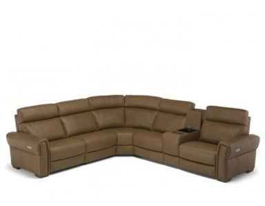 Natuzzi Editions C119 Soave Power Reclining Sectional & Adjustable Headrest