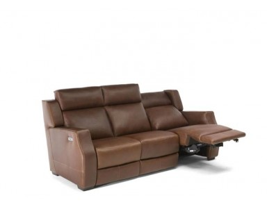 Natuzzi Editions C122 Power Reclining Leather Sofa & Adjustable Headrest