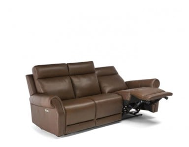 Natuzzi Editions C124 Power Reclining Leather Sofa & Adjustable Headrest