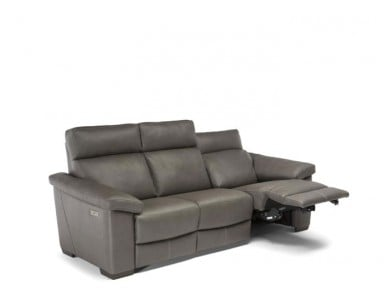 Natuzzi Editions C126 Power Reclining Leather Sofa & Adjustable Headrest