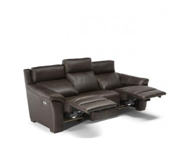 Natuzzi Editions C127 Power Reclining Leather Sofa & Adjustable Headrest