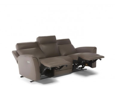 Natuzzi Editions C128 Power Reclining Leather Sofa & Adjustable Headrest