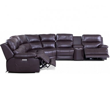 Kendra Power Reclining Leather Sectional - Available With Power Tilt Headrest | Power Lumbar
