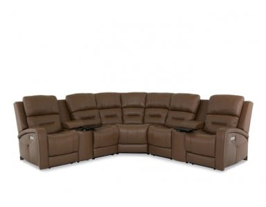 Adams Power Reclining Leather Sectional - Available With Power Tilt Headrest | Power Lumbar