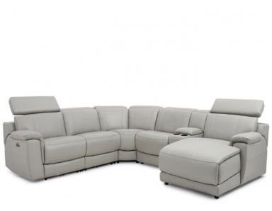 Abel Power Reclining Leather Sectional With Power Headrest