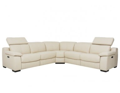Alyssum Power Reclining Leather Sectional With Power Adjustable Headrest