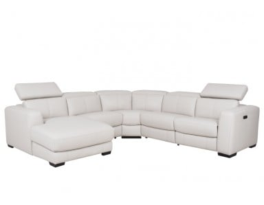 Bain Leather Power Reclining Leather Sectional With Power Adjustable Headrest