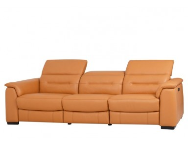Camellia Leather Power Reclining Sofa With Power Adjustable Headrest