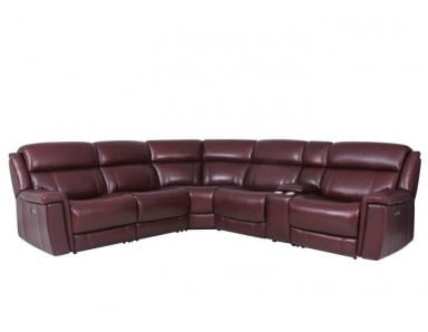Grebe Power Reclining Leather Sectional With Adjustable Power Headrest