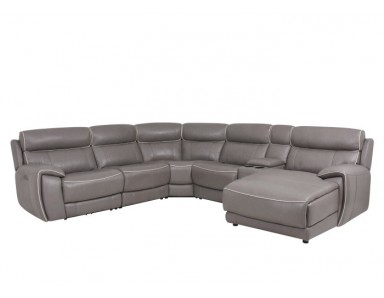 Lobelia Leather Power Sectional With Adjustable Power Headrest (Contrast Stitch Not Available)