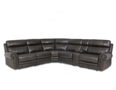Recon Reclining Leather Sectional With Power Headrests